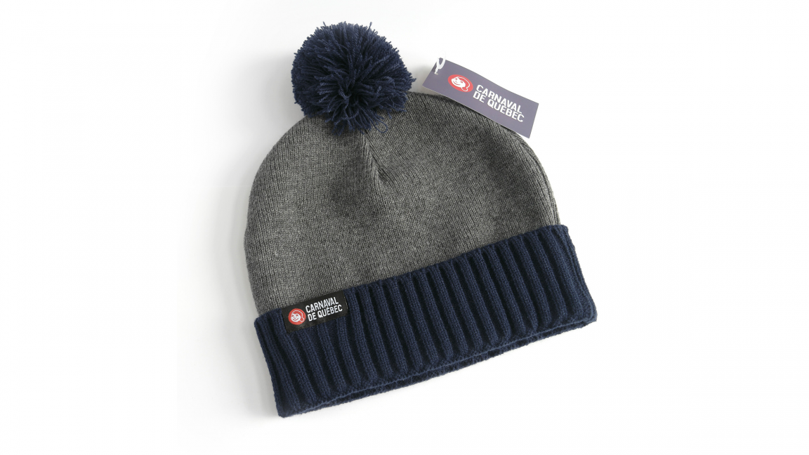 Blue & Gray Tuque with Pom