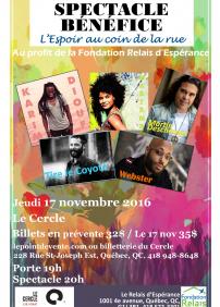 Spectacle bénéfice L'Espoir au coin de la Rue avec Martin Deschamps + Tire le Coyote + Karim Diouf + Webster + Marième