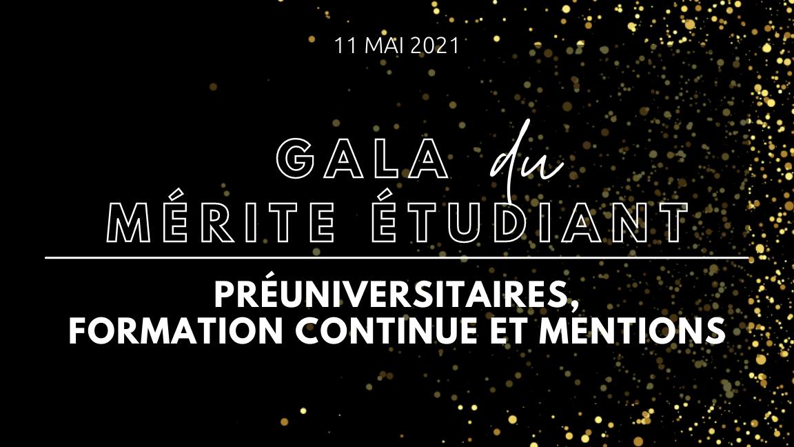 Gala du mérite étudiant - Préuniversitaires, formation continue et mentions
