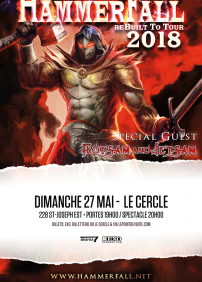 District 7 Production présente Hammerfall, Floatsam and Jetsam – 27 mai 2018 – Le Cercle, Québec, QC