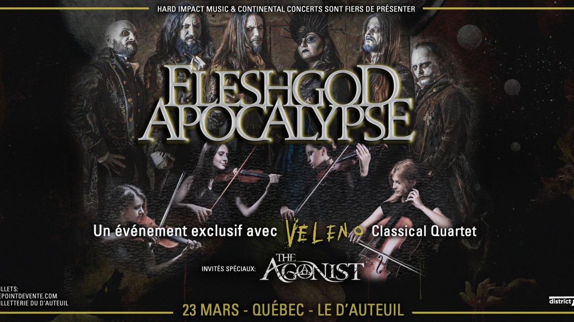 **REPORTÉ** FLESHGOD APOCALYPSE avec The Veleno Classical Quartet