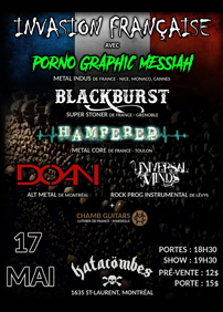 DOAN présente Porno Graphic Messiah (France), Blackburst (France), Hampered (France) – 17 mai 2018 – Coop Katacombes, Montréal, QC