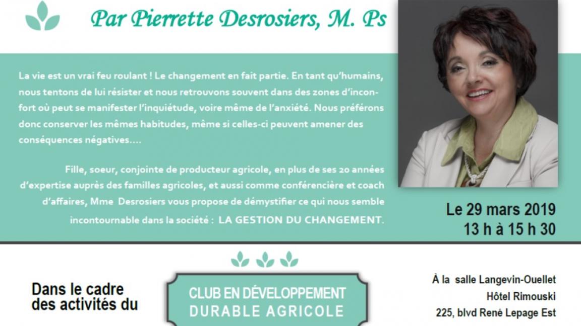 Conférence Pierrette Desrosiers