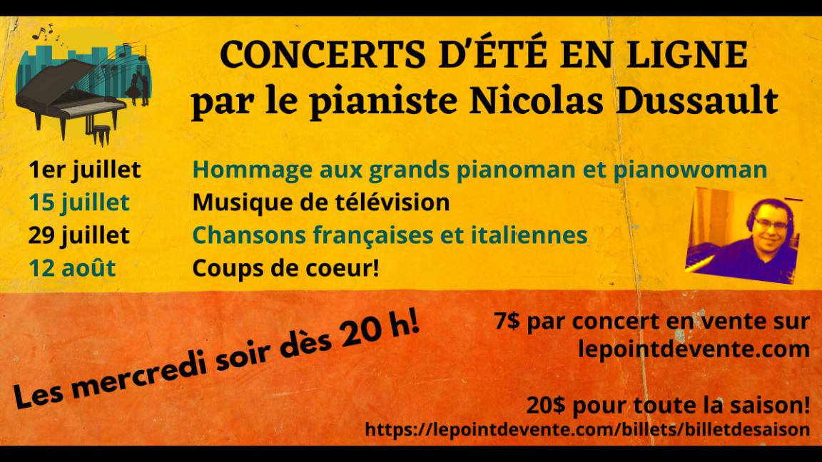 Billet de saison pour 4 concerts d'été du pianiste Nicolas Dussault