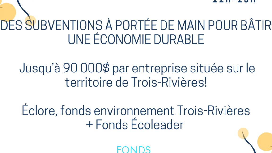 Éclore, fonds environnement Trois-Rivières + Écoleader