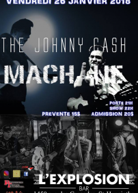 Bar L'Explosion présente Hommage à Johnny Cash 26/01/18 à l'Explosion: The Johnny Cash Machine – 26 janvier 2018 – Bar L'Explosion, Saint-Hyacinthe, QC
