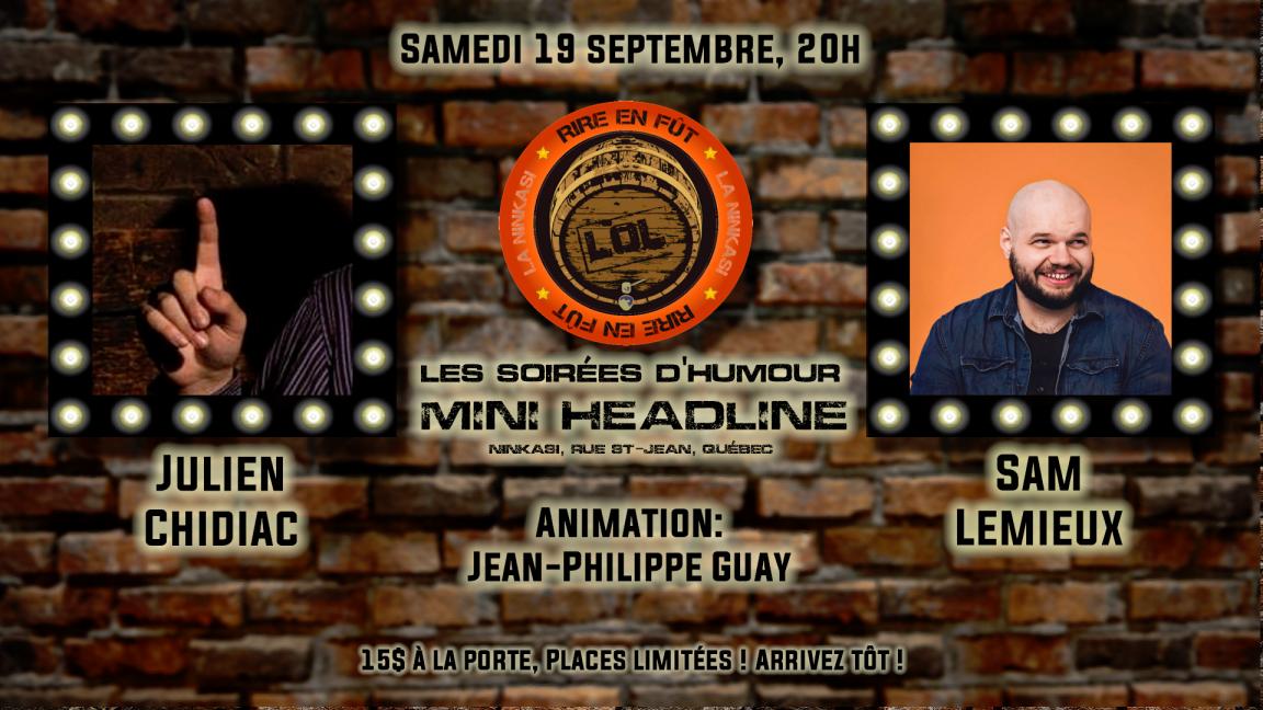 Soirée d'humour mini-headline : Julien Chidiac et Sam Lemieux