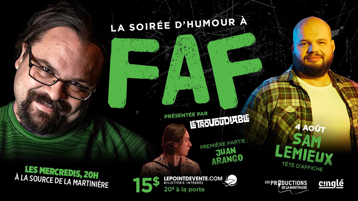 La soirée d'humour à FAF // Sam Lemieux