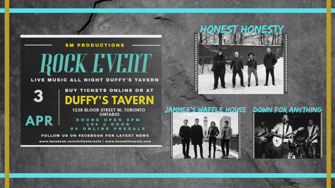 Live Music All Night at Duffy's Tavern with Honest Honesty / Down For Anything & Jammer's Waffle House
