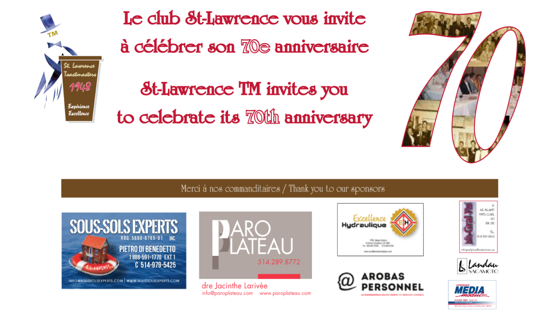 St. Lawrence Toastmasters Club - 70th Anniversary