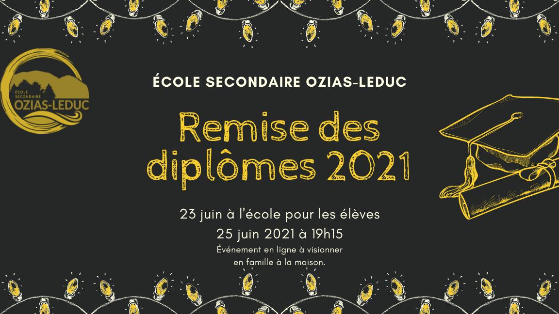Remise des diplômes 2021, finissants Ozias-Leduc