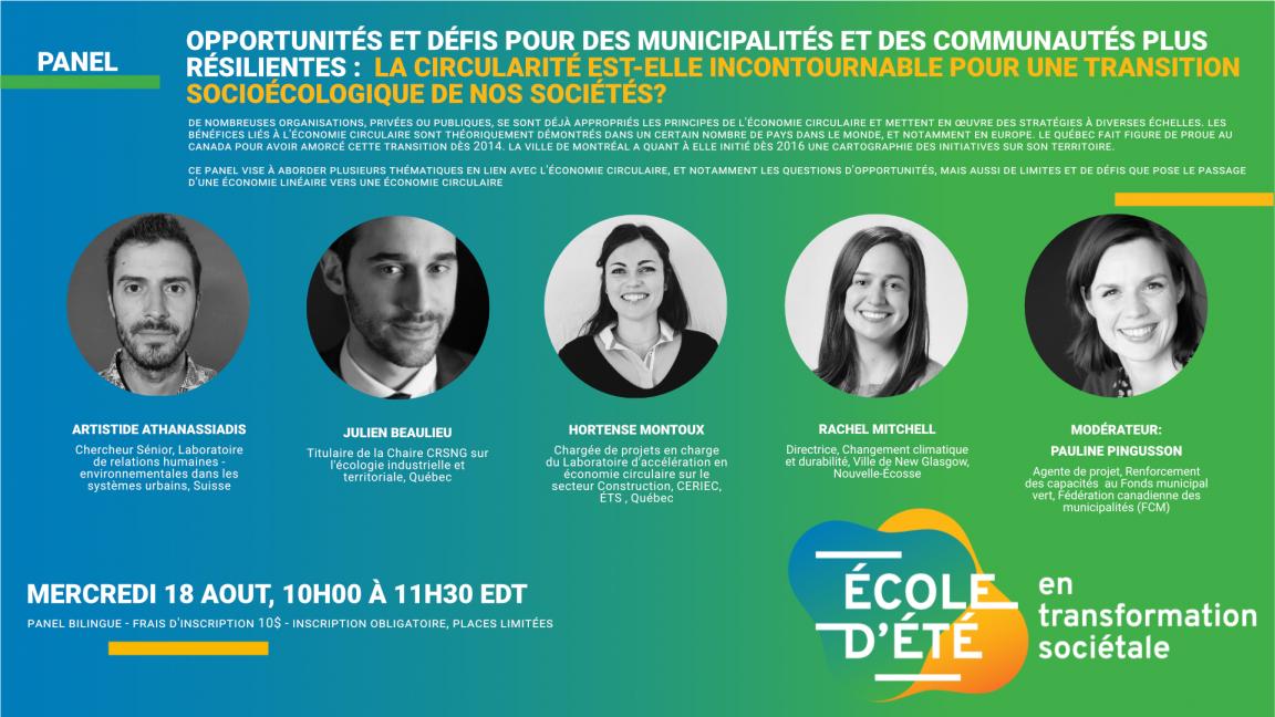 Opportunités et défis pour des municipalités plus résilientes : la circularité est-elle incontournable pour une transition socioécologique de nos sociétés?