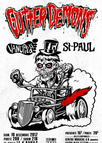 Les Productions 4 Barils presents GUTTER DEMONS/ LES VANUPIEDS/ ST-PAUL – December 16th 2017 – Salle le 4 Barils, Saguenay, QC