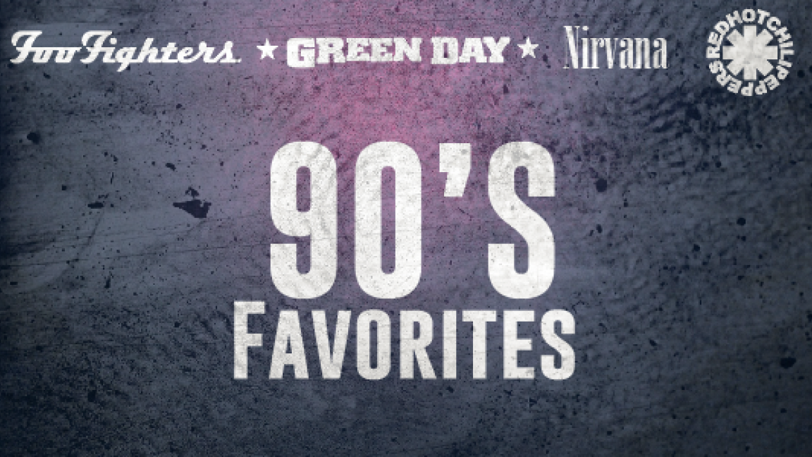 Package 90's favorites - Access to 4 shows (Foo Fighters, Green Day, Nirvana, Red Hot Chili Peppers)