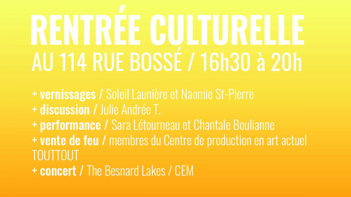 Rentrée culturelle au 114 rue Bossé