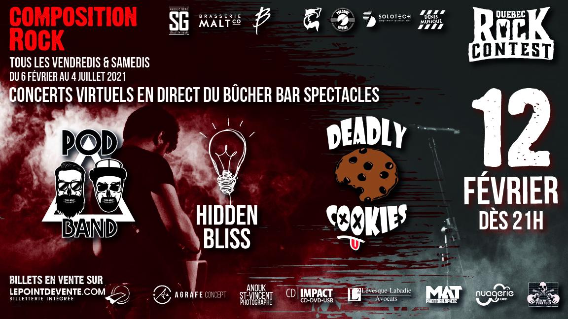 Concert virtuel : PODBand, Hidden Bliss & Deadly Cookies