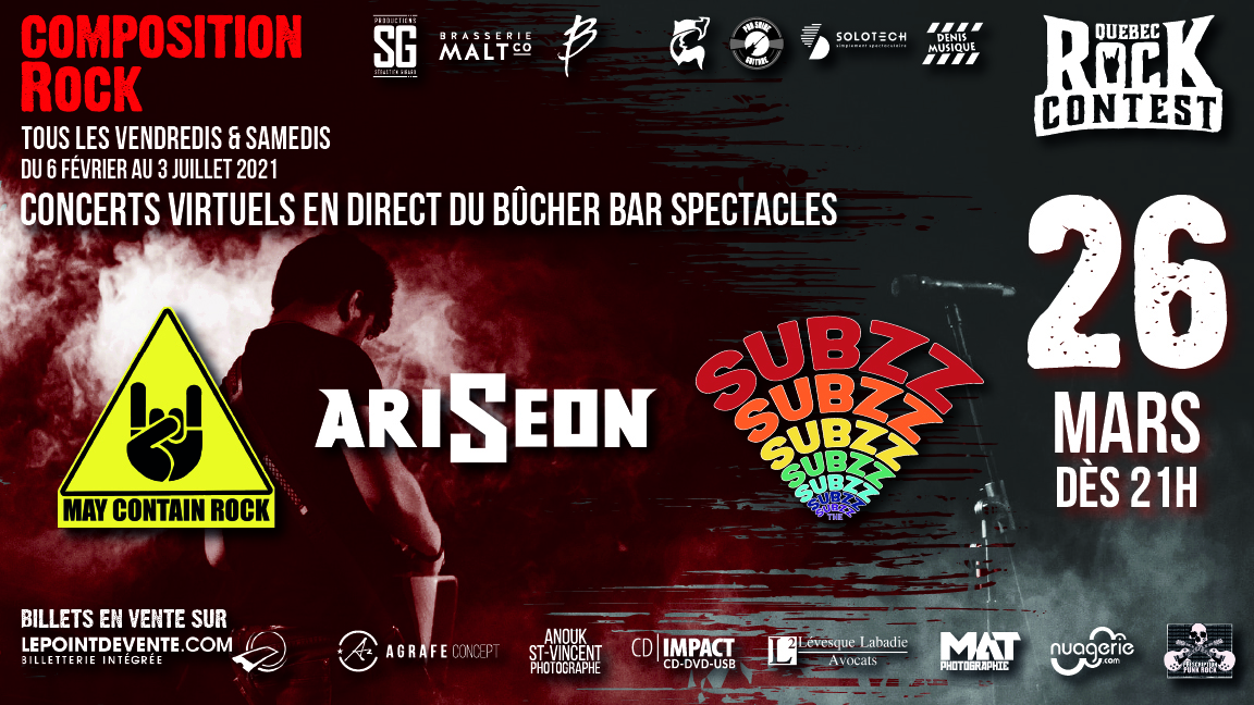 Concert virtuel : The Subzz, Ariseon & May Contain Rock