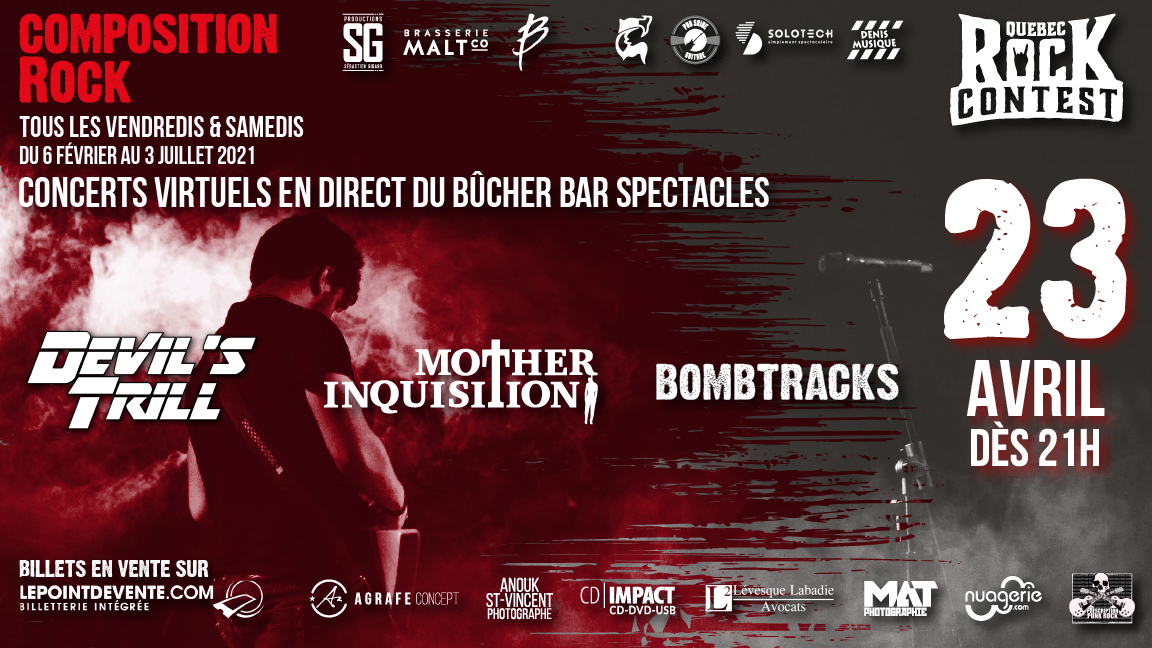 Concert virtuel : Devil's Trill, Mother Inquisition & Bombtracks
