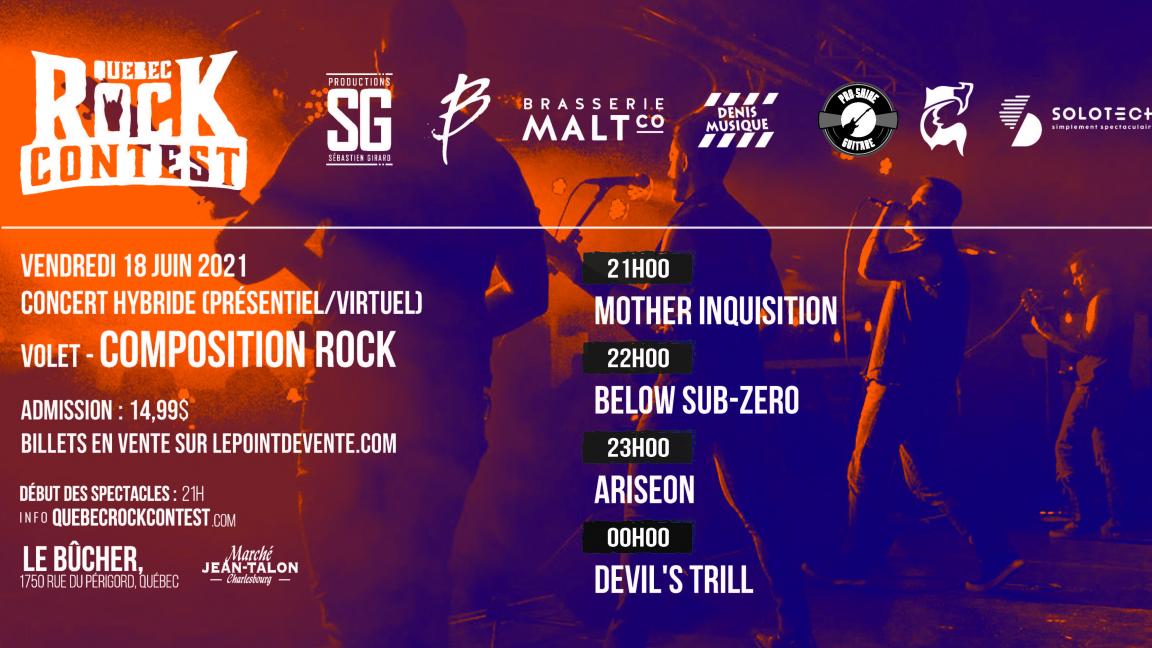 Concert en présentiel : Mother Inquisition, Below Sub-Zero, Ariseon & Devil's Trill
