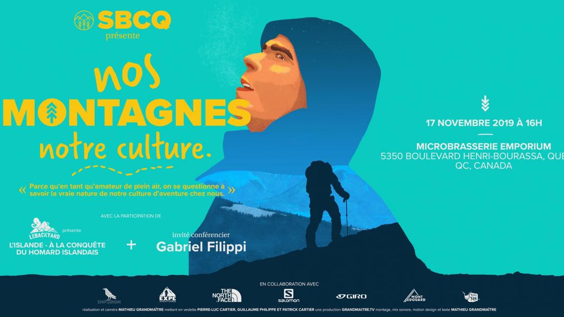 SBCQ présente la première de la web série Nos Montagnes Notre Culture avec invité conférence Gabriel Filippi