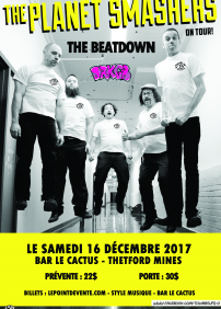 Thumbs Up Productions présente The Planet Smashers – 16 décembre 2017 – Bar le Cactus, Thetford Mines, QC