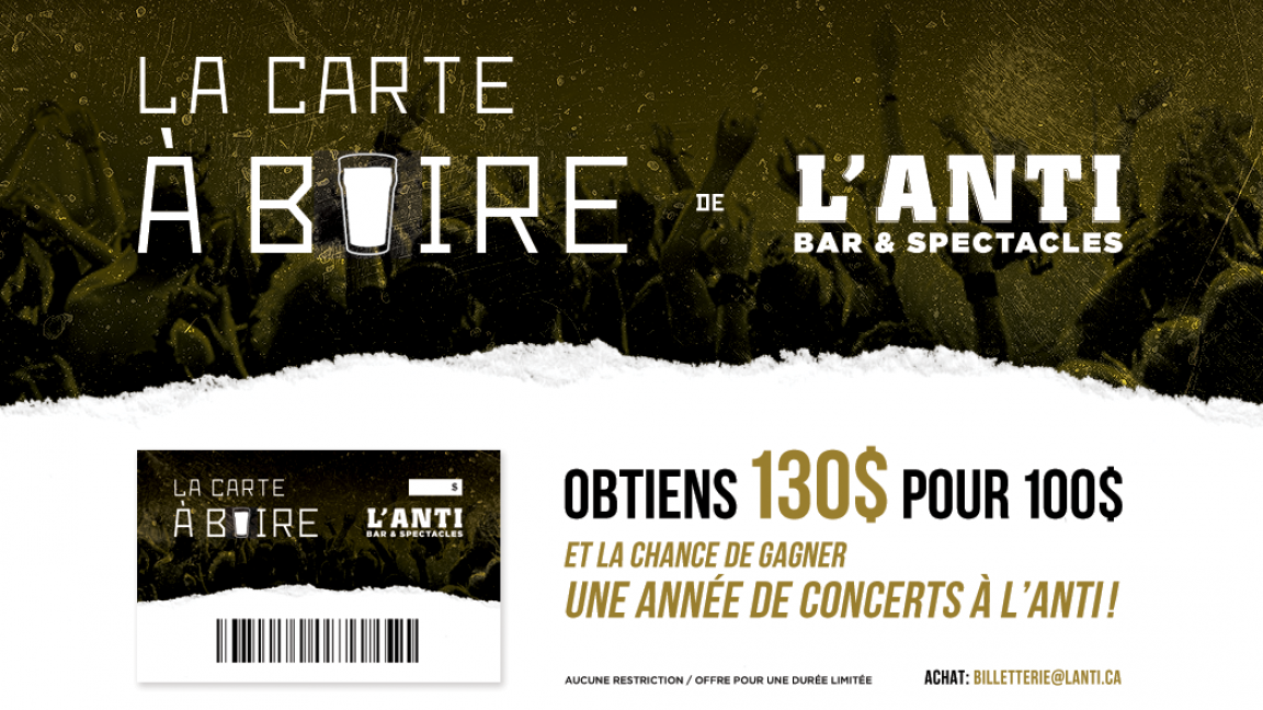 La carte à boire de L'Anti Bar & Spectacles